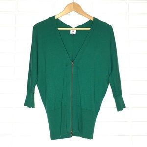 CAbi | Green Banner Zip-Up Cardigan - Style #5142